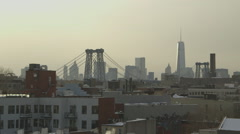 Brooklyn and NYC skyline in winter - stock footage