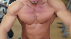 Man`s beauty, muscle, athletic chest and hands Stock Footage