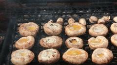 Mushrooms on bbq grill Stock Footage