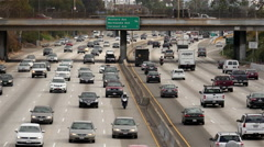 Stock Video Footage of View of Traffic on Busy Freeway in Downtown Los Angeles California