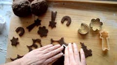 Cutting out gingerbread dough Stock Footage