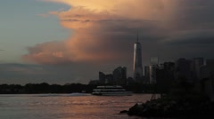 NYC Bay and Skyline at dusk Stock Footage