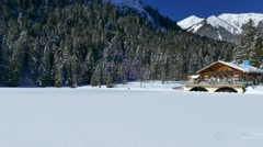 Lake Pflegersee in Winter, Garmisch-Partenkirchen, Bavaria, Germany Stock Footage