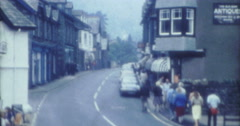 England UK Village Coniston Street View Cars 70s 16mm Stock Footage