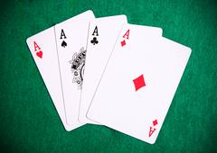 four aces on the table casino - stock photo