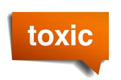 toxic orange speech bubble isolated on white - stock illustration