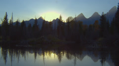View of Teton Range in Grand Teton National Park Stock Footage
