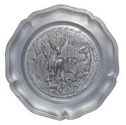 plate with a bas-relief of the hunters - stock photo