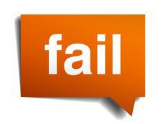 fail orange speech bubble isolated on white - stock illustration