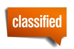 Classified orange speech bubble isolated on white Stock Illustration