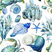 Stock Illustration of Corals with shells and crabs