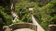 Tourists come and go, Pailon del Diablo waterfall Ecuador, static shot Stock Footage
