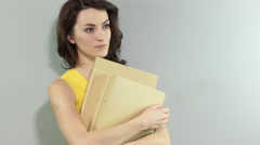 Woman holding folders - stock footage