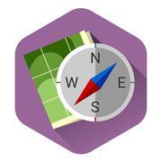 Illustration of Compass flat icon - stock illustration