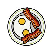 Stock Illustration of Eggs and bacon. Four delicious fried eggs and slices of crisp bacon
