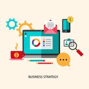 Business strategy planning icon flat set with effective management achieving a Stock Illustration