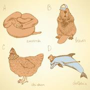 Sketch fancy animals alphabet in vintage style Stock Illustration