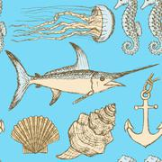 Sketch sea set in vintage style Stock Illustration