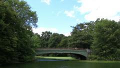 Prospect Park Lullwater Bridge Boathouse Stock Footage