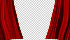 Red Curtains open, alpha channel,   transparent background - stock footage