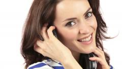 Woman listening to music - stock footage