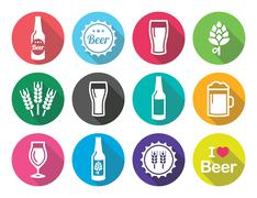 Beer flat design round icons set - bottle, glass, pint Stock Illustration