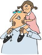 Grandpa giving granddaughter a ride Stock Illustration
