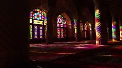 Nasir al-Mulk Mosque, Masjed-e Naseer ol Molk in Shiraz, Iran. Stock Footage
