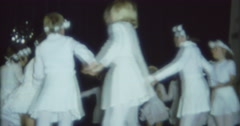 Children Kids Dancing in White Outfit Show Hippie 70s 16mm Stock Footage