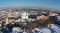 Aerial view of Podol and St. Andrew's church in Kiev, Ukraine Stock Footage