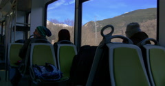 Riding train from ribes de freser to vall de nuria 4k spain Stock Footage
