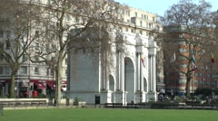 Marble Arch London red bus Stock Footage