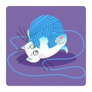 White cat playing with ball of yarn Stock Illustration
