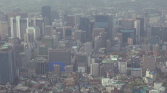 Aerial view Seoul business center financial district panorama smog foggy daytime Stock Footage