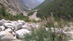 Mountains and the Bhagirathi River at Gangotri in Uttarakhand, India Stock Footage