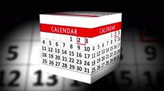 Calendar Month rotating Cube - Animation Stock Footage
