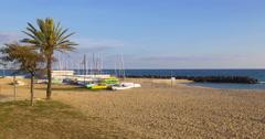Caldes d'estrac calm sunny beach 4k spain Stock Footage