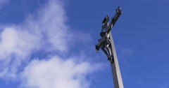Vall de nuria blue sky orthodox cross 4k spain Stock Footage
