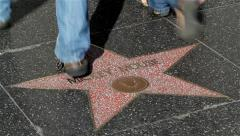 MICKEY MOUSE STAR HOLLYWOOD BOULEVARD, LOS ANGELES, CALIFORINA, USA Stock Footage