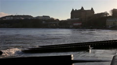 GRAND HOTEL & SOUTH BAY AT HIGH TIDE, SOUTH BAY SCARBOROUGH, NORTH YORKSHIRE Stock Footage