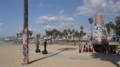 SEGWAYS ON CYCLE PATH, VENICE BEACH, CALIFORNIA, USA Stock Footage