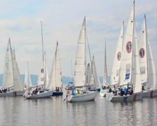Racing yachts line up before start, extreme sport, sailing Stock Footage