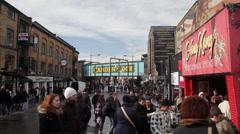CAMDEN MARKET, CAMDEN TOWN HIGH STREET, LONDON Stock Footage