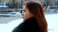 Young woman winter portrait. Full HD footage Stock Footage
