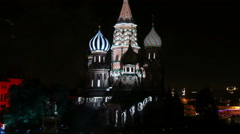 Saint Basil's Cathedral illuminated Stock Footage