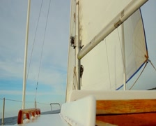 Close-up of white sail, equipment on sailboat, yachting, sailing - stock footage