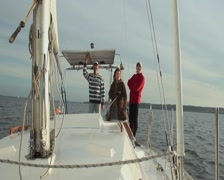 Friends on sailing yacht, company, active rest, vacation Stock Footage