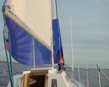 Yacht sailing under wind power, cruise, tourism, active rest Stock Footage