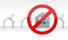 Stock Illustration of negative to a home. real estate concept