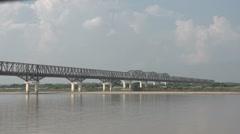 Ayeyarwady river, bridge over the river Stock Footage
